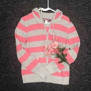 Vineyard Vines Pink & Gray Striped Hoodie size L